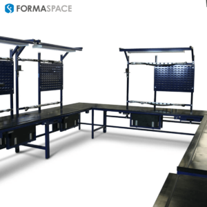 u-shaped esd workstation with louvered panels