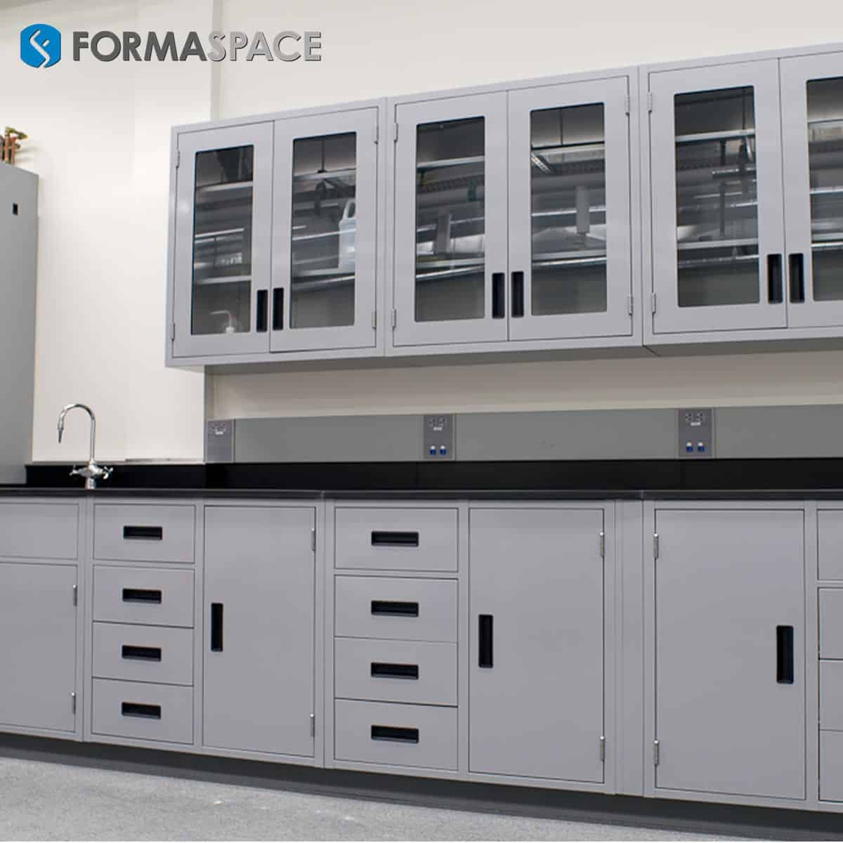 epoxy lab casework with glass cabinets