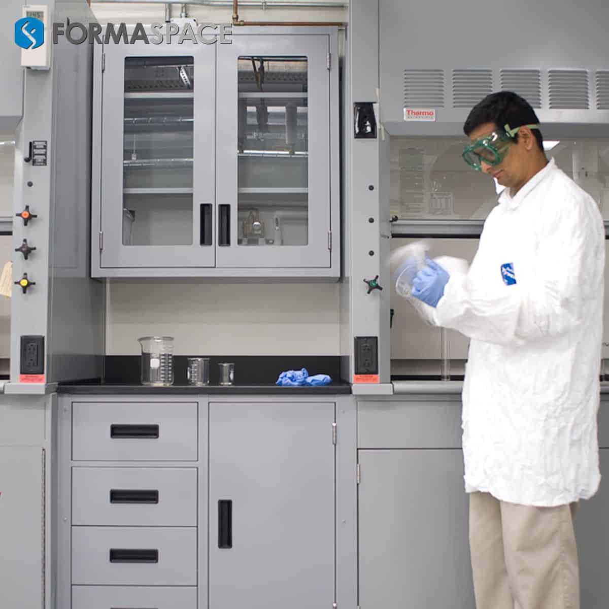 sample processing casework with fumehood