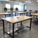 maple top classroom desk with foot rest