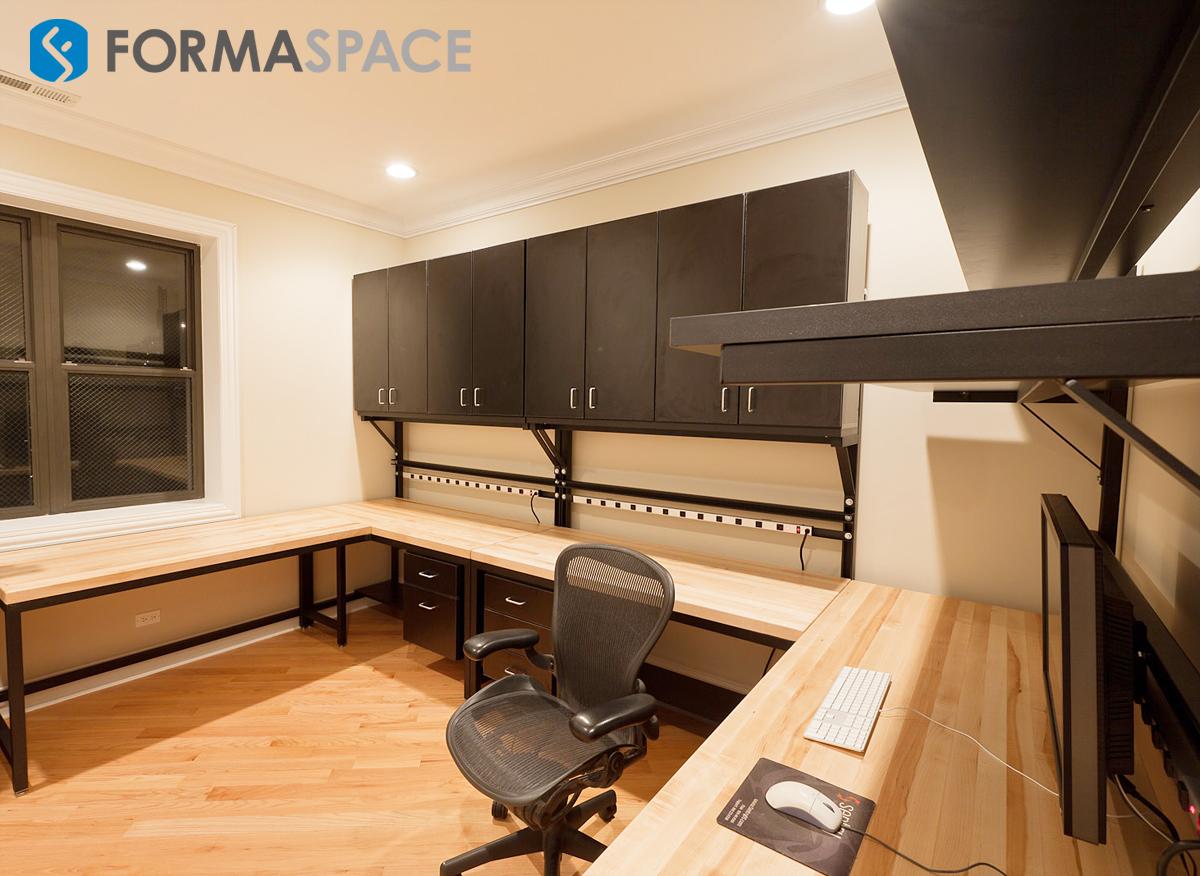 large u-shape home office repair station