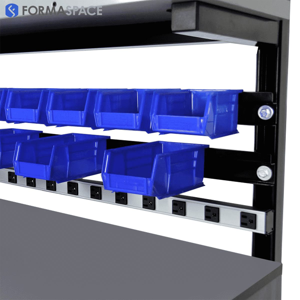 bin rails with multiple bin sizes and 12 outlet power strip