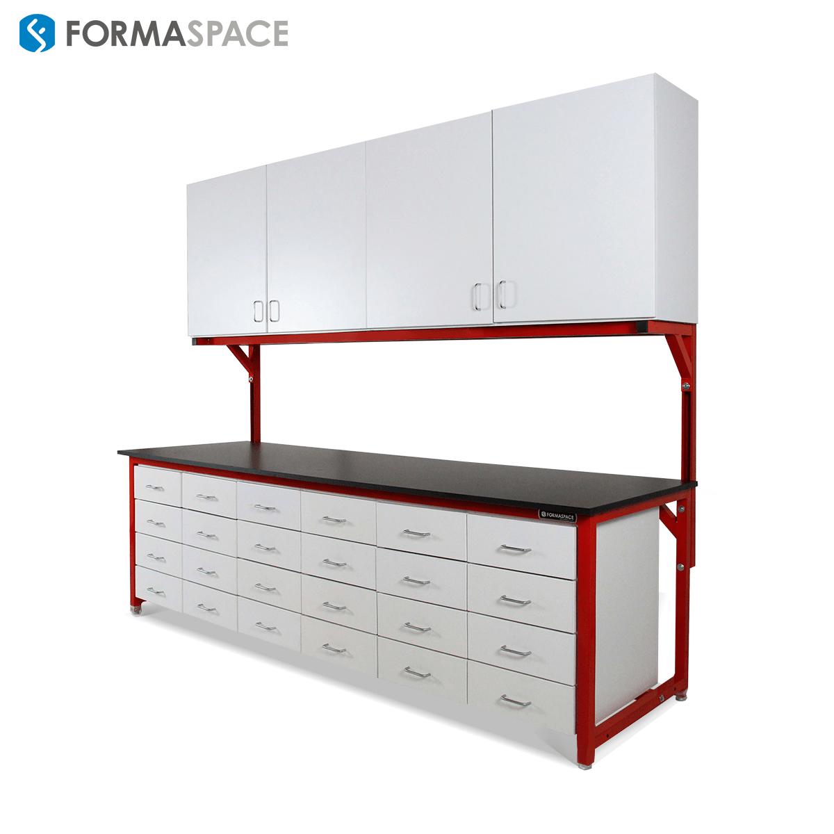 storage workbench with red frame