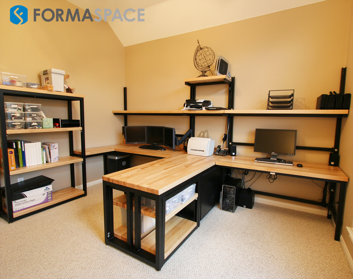 wood countertop home office desk