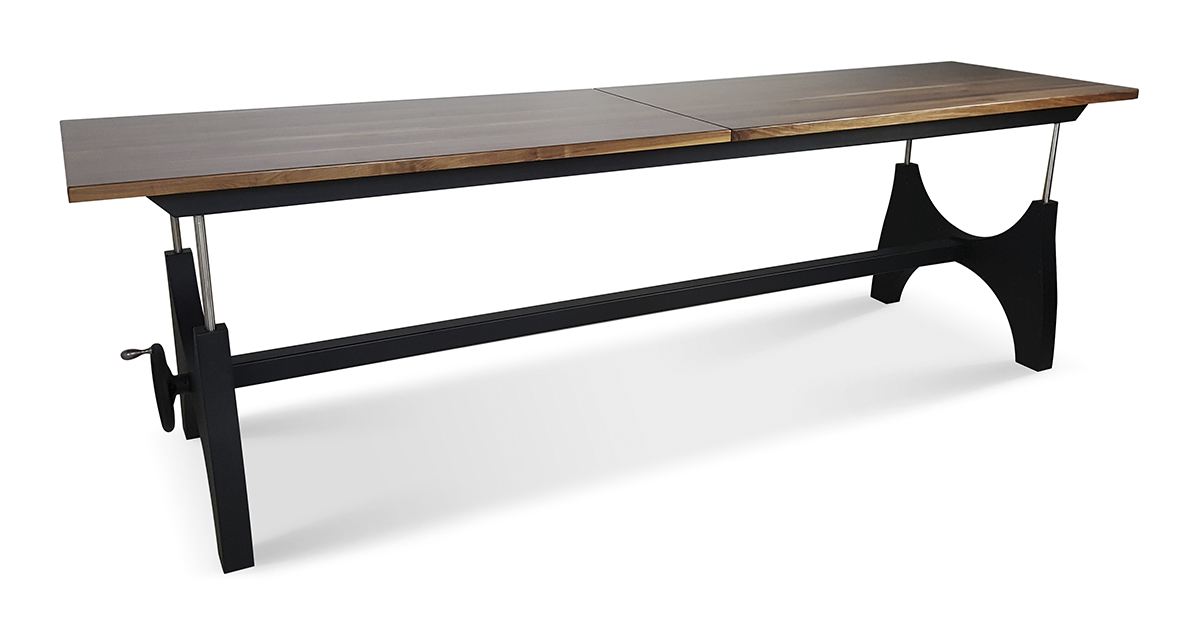 industrial height adjustable conference table with wood
