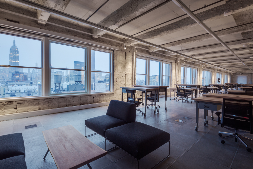 open office with height adjustable desks