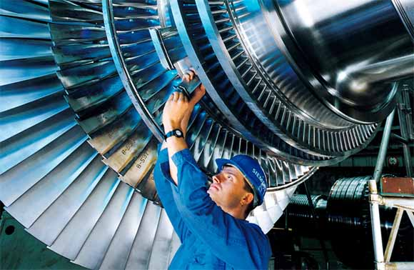 Steam Engine Turbine Blades. Image courtesy Siemens Germany / Christian Kuhna