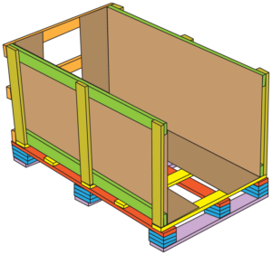 10 build trade show crates line other interior wall with cardboard