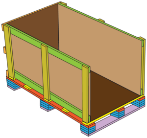 11 build trade show crates line back wall and floor with cardboard