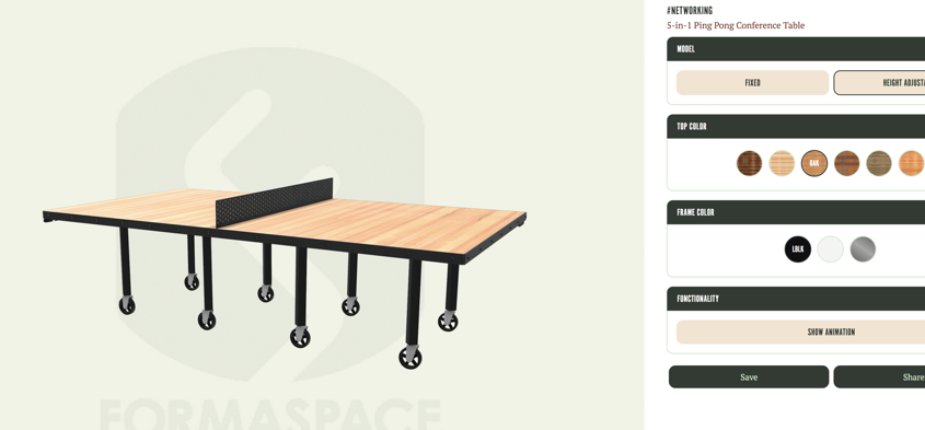 office ping pong table 3d configurator