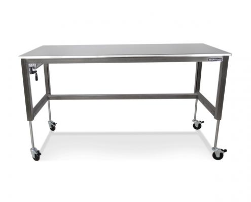 basix stainless steel height adjustable desk