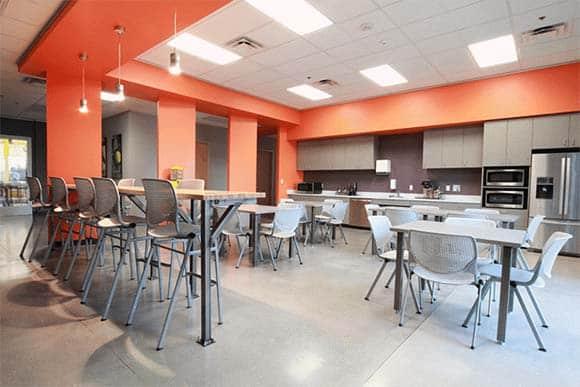 busch cafeteria lounge area