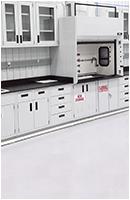 lab instrumentation casework with ventilation fumehood