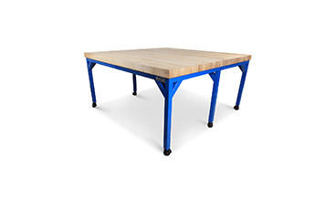 six legged heavy duty manufacturing workbench with hardwood top