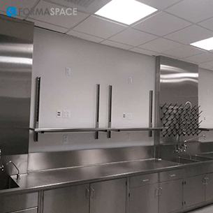 stainless steel casework with peg board gallery image