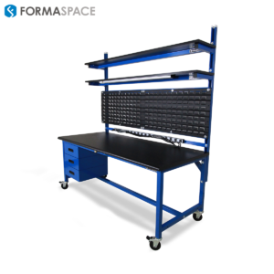 mobile workbench with louvered panel
