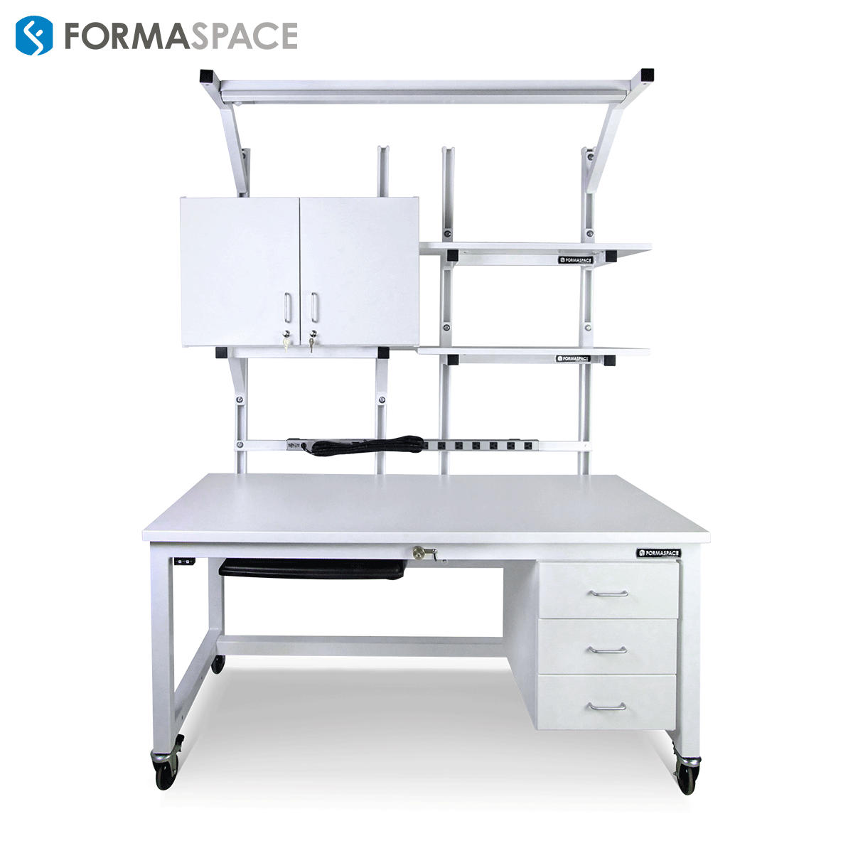 All equipped white workbench with upper and lower cabinets, power strip and two extra shelves on top.