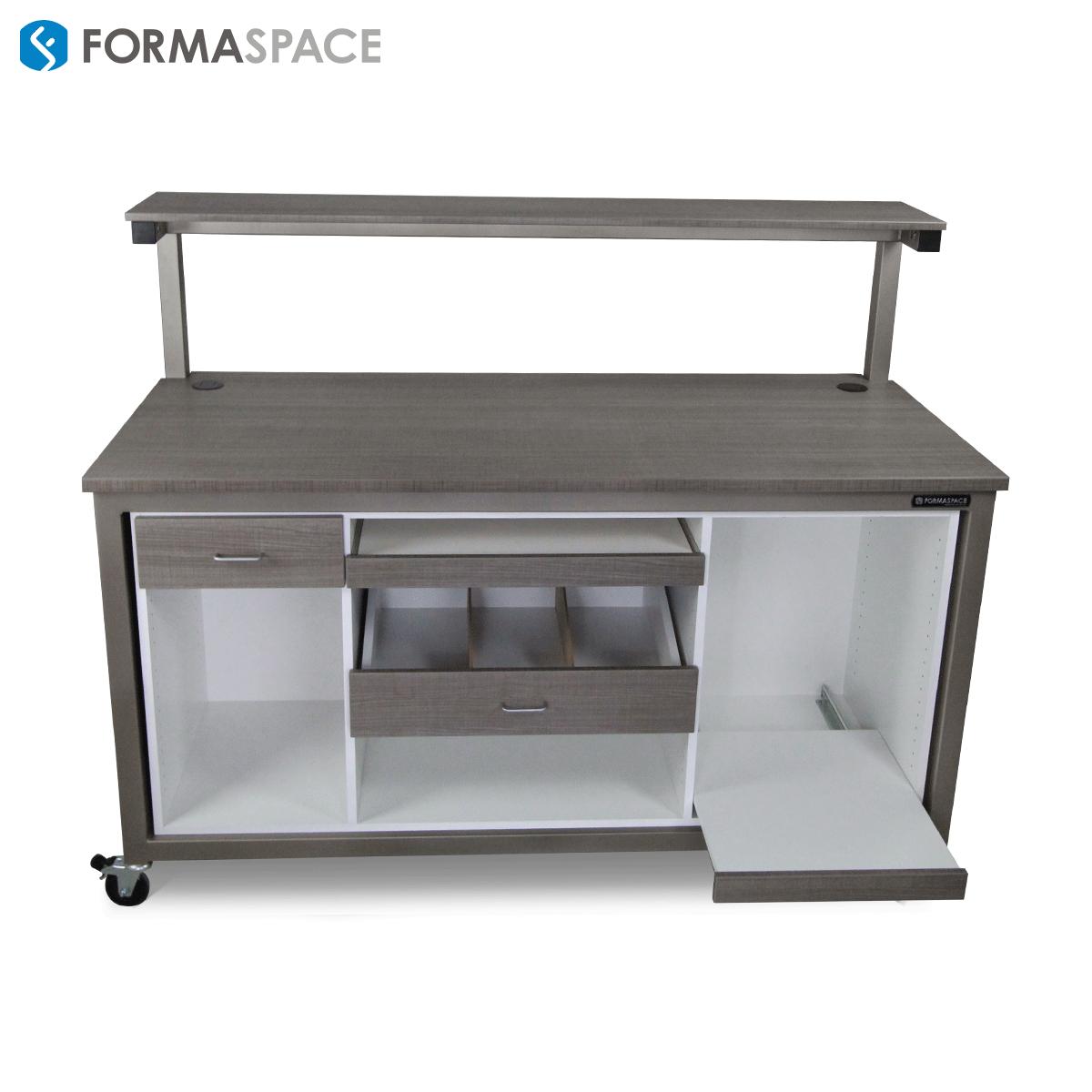 workbench with custom modesty panel