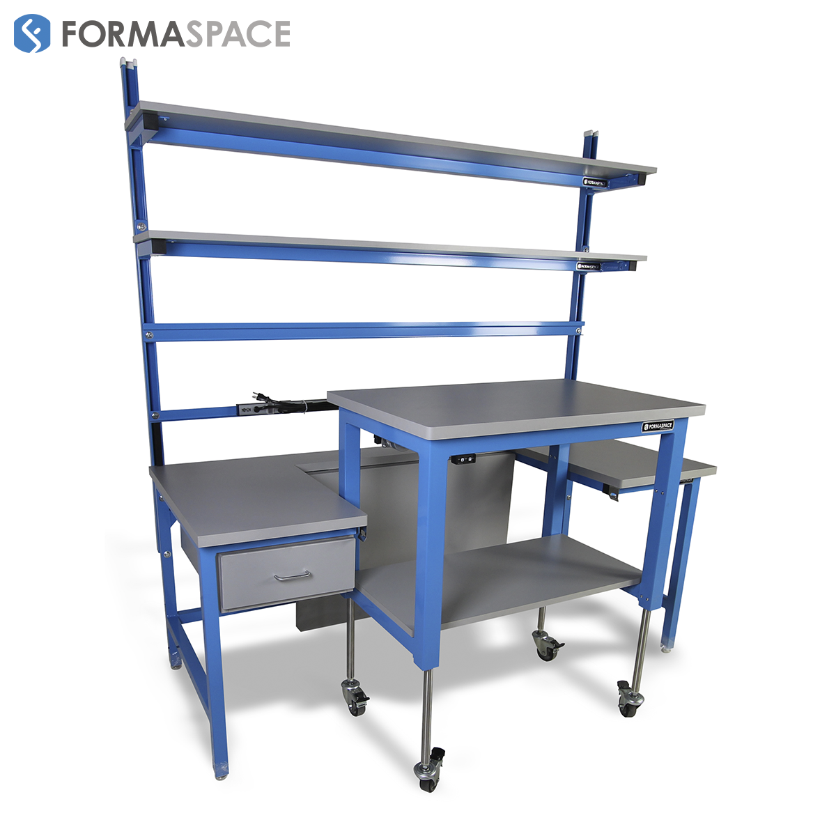 mobile cart attaches and detaches to workbench