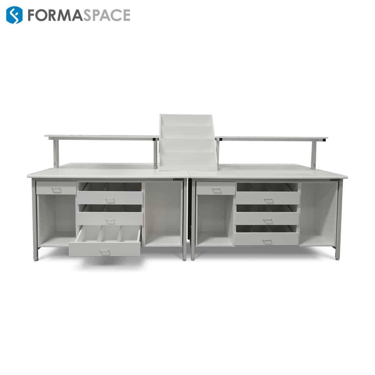 pharma filling station bench custom storage