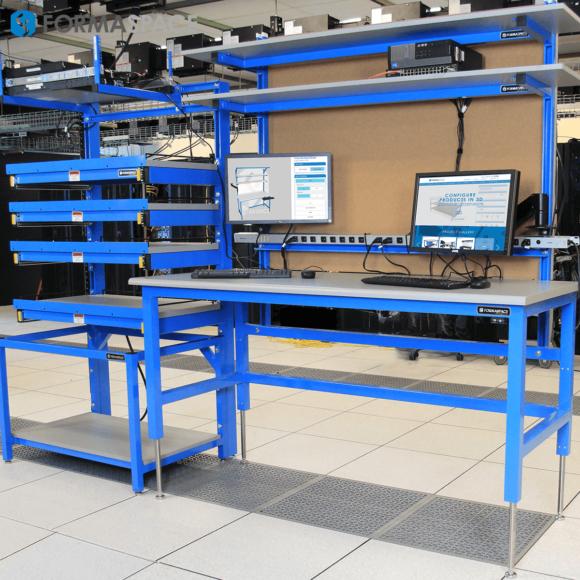 tech lab workstation with server racks