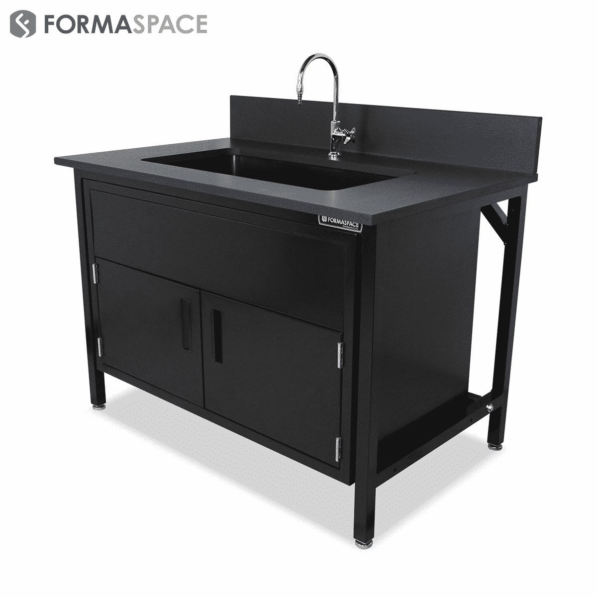 Black Epoxy Sink Bench