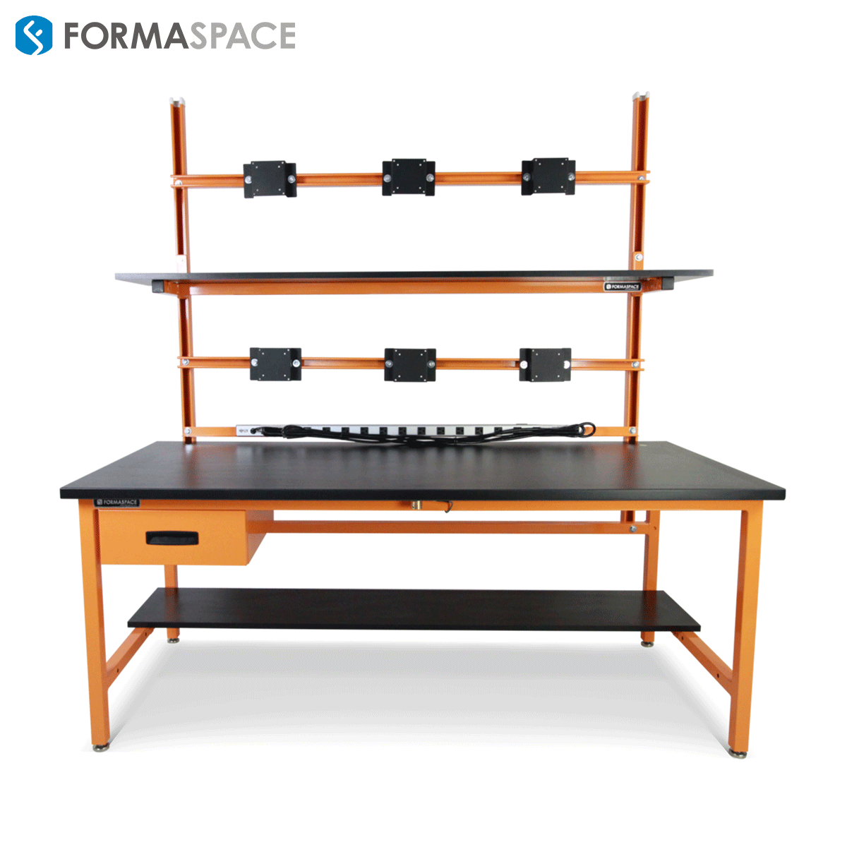 EDS workbench with upper and lower shelves and power strip
