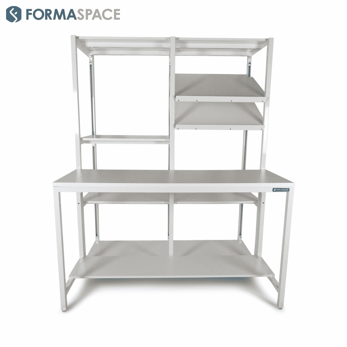 workstation paired with packaging shelves
