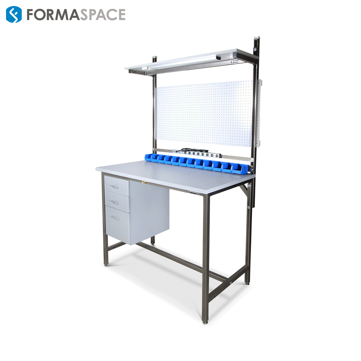 workbench with white pegboard