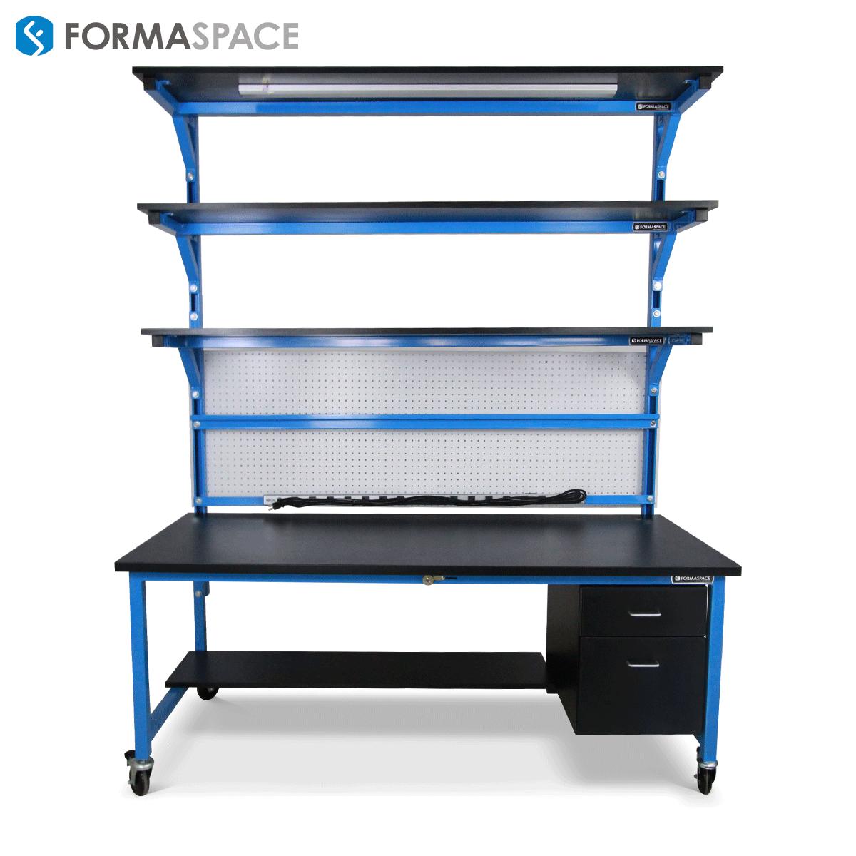workbench with extra upper shelf