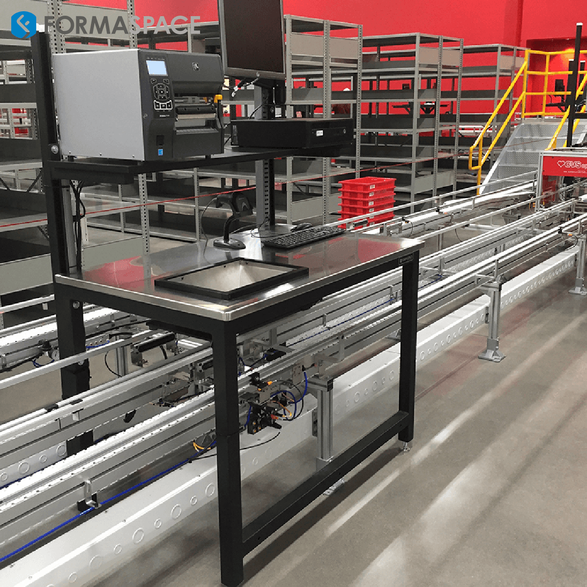 stainless steel countertop industrial workbench with cut out