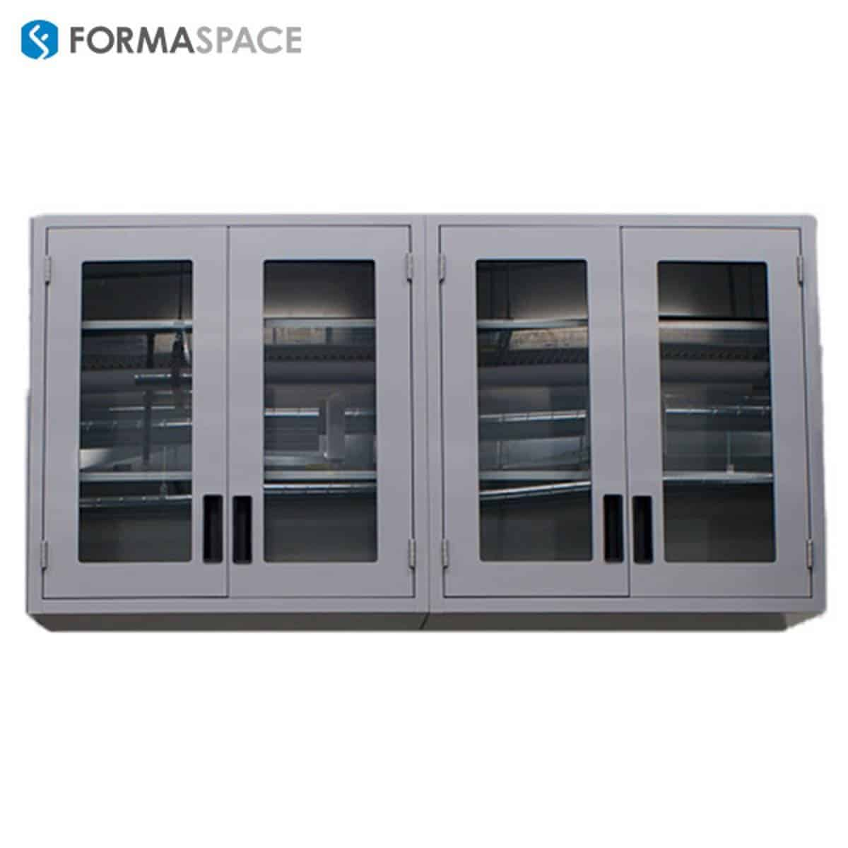 Steel Storage Cabinets with Glass Panes to View All Equipment