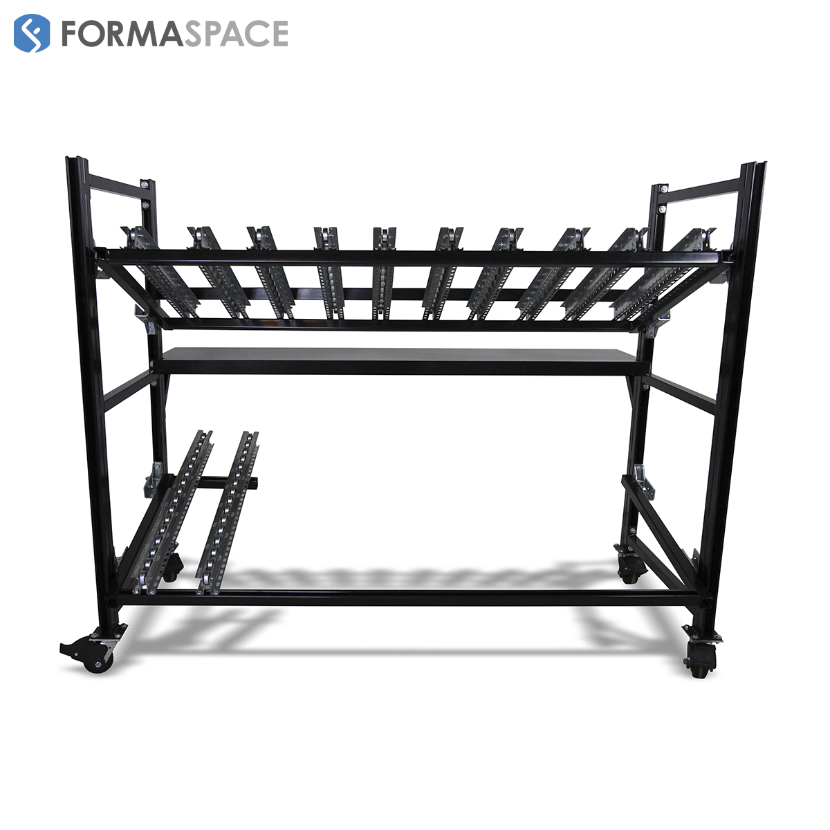 Mobile Flow Rack with Unloading Rails