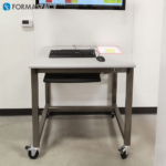 small computer workstation with casters