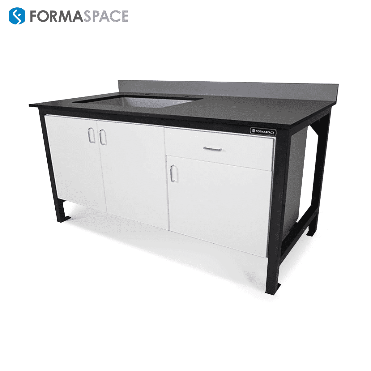 Basix Workbench with White Melamine Cabinets and Gray Phenolic Top