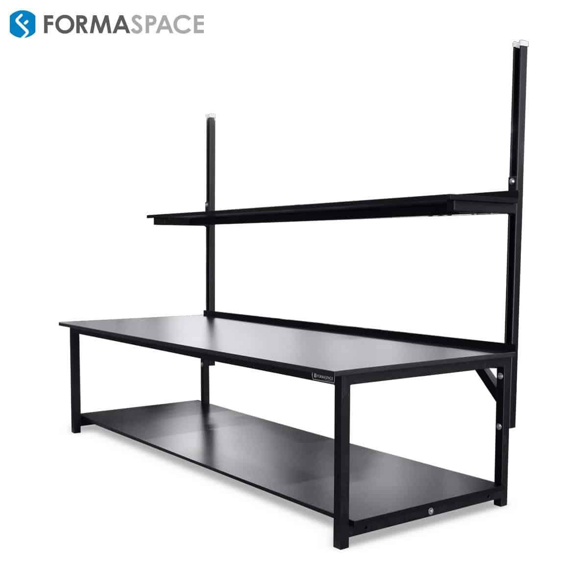 large phenolic workbench with upper shelves