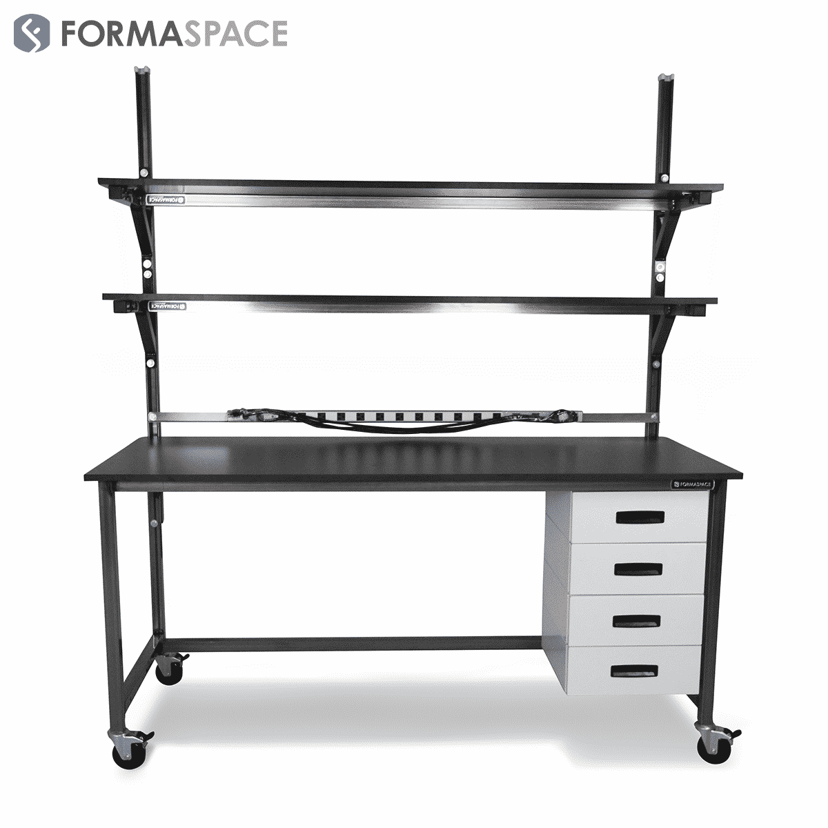 Phenolic Top Benchmarx with Drawers & Upper Shelves