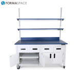 Lab bench with sliding shelves within cabinet