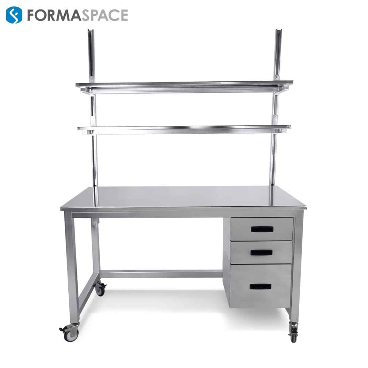 stainless steel workbench with 3 drawers