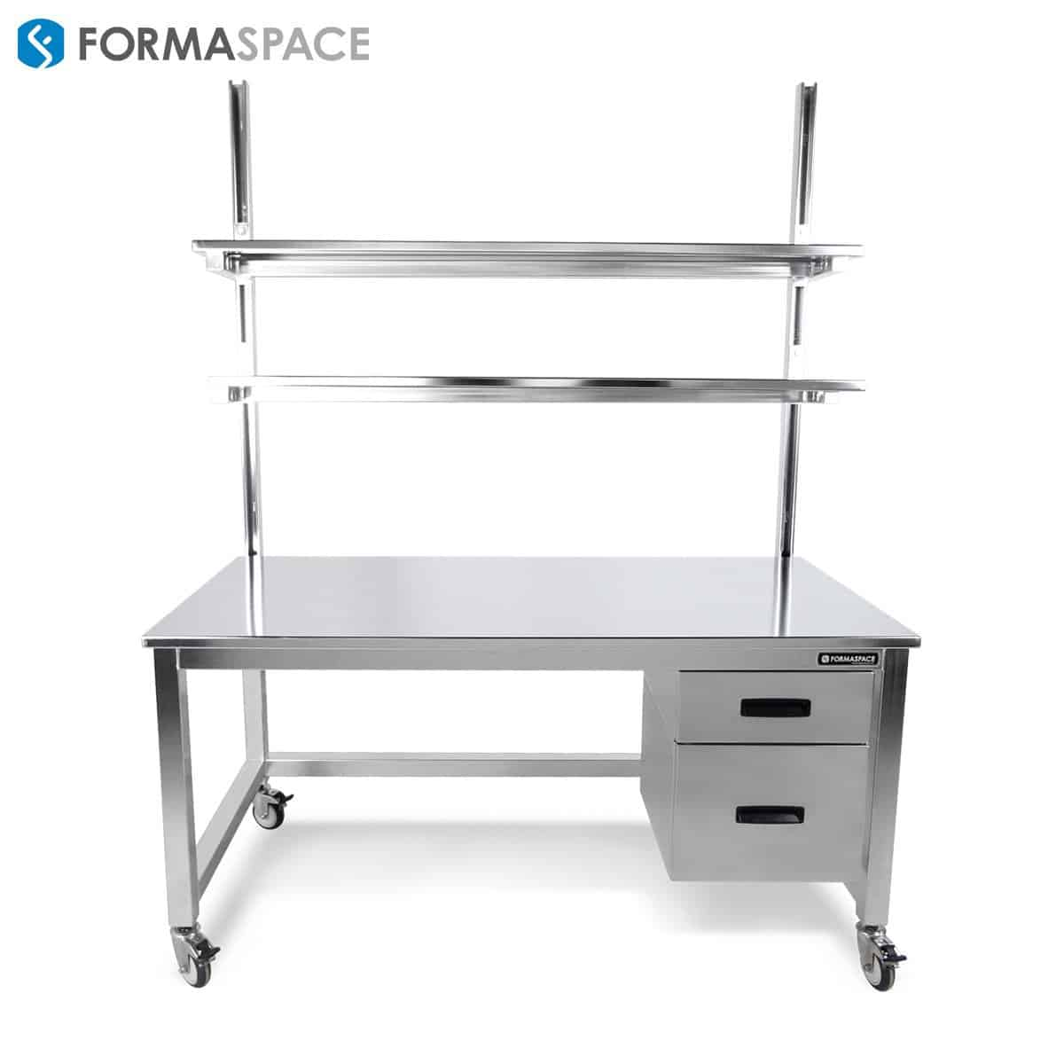 electropolished stainless steel workbench with lower storage