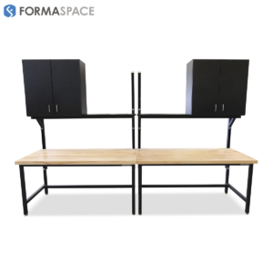 Twin Maple Top Benchmarx with Upper Shelves and Cabinets