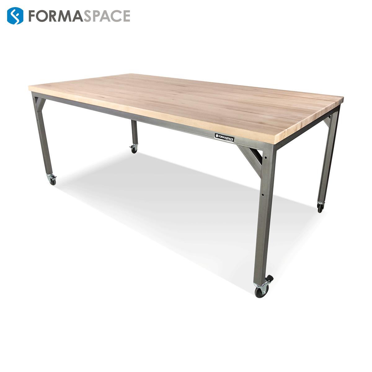 wood steel bar height table