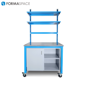 blue benchmarx with powder coated steel shelves
