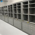custom gray storage wall unit