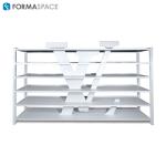 custom white laminate shelving unit with logo