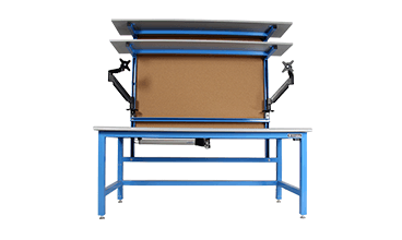cleanroom laboratory mobile workbench with overhead lights