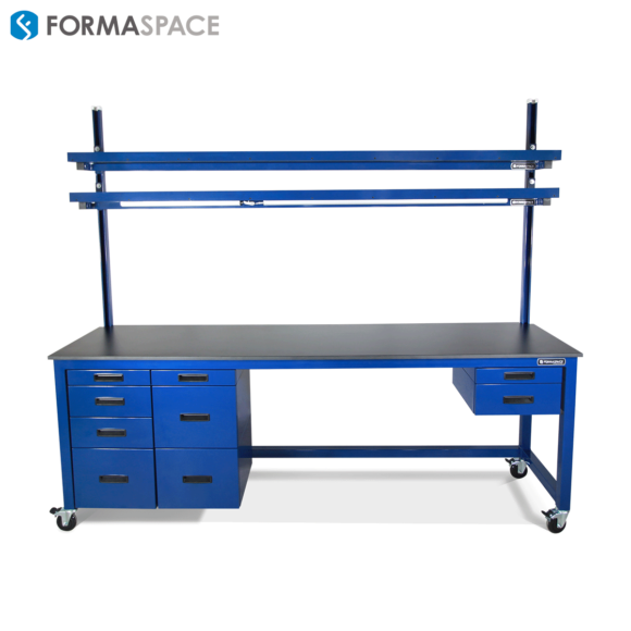 large workbench with lower and upper storage
