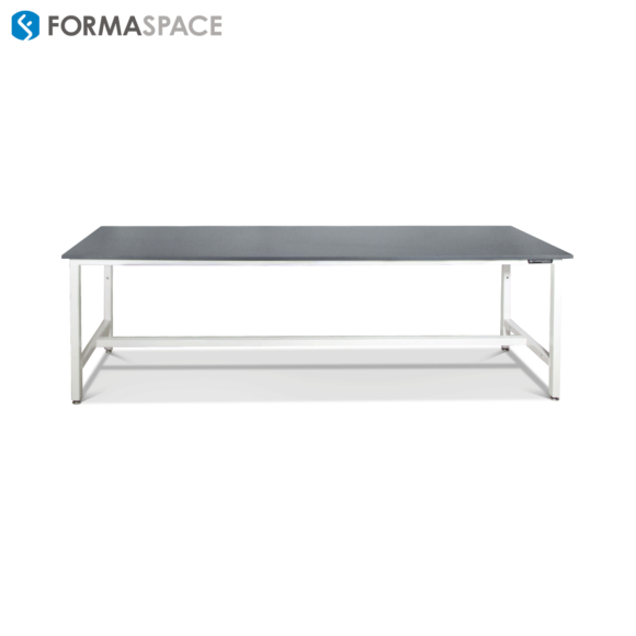 long workbench for an aerospace research agency steel frame black top