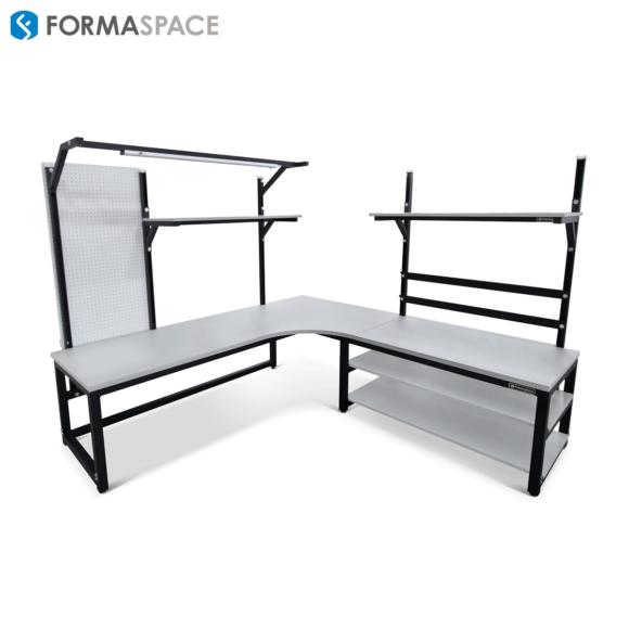 custom corner workbench with pegboard