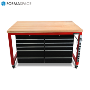 Red Mobile Tool Bench for Tire Supplier